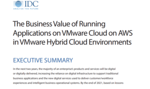 THE BUSINESS VALUE OF RUNNING APPLICATIONS ON VMWARE CLOUD ON AWS IN VMWARE HYBRID CLOUD ENVIRONMENTS
