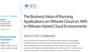 THE BUSINESS VALUE OF RUNNING APPLICATIONS ON VMWARE CLOUD ON AWS IN HYBRID CLOUD ENVIRONMENTS